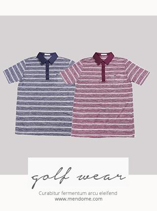 ATS-066 [골프웨어] 줄스트라이프 카라 티셔츠