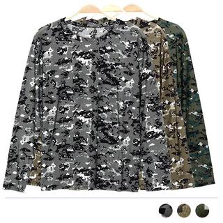 MTSS18024 카모 라운드 긴팔티셔츠 [제작 대량 도매 로고 인쇄 레이저 마킹 각인 나염 실크 uv 포장 공장 문의는 네이뽕]