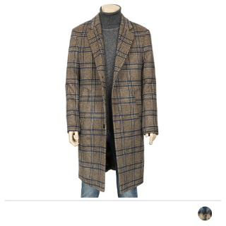 MJS18085 브라운 체크 울90% 코트 [제작 대량 도매 로고 인쇄 레이저 마킹 각인 나염 실크 uv 포장 공장 문의는 네이뽕]