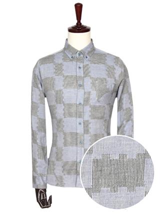 [더산의류] 남성 FS076 이중직 패턴 셔츠- 소라