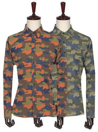[더산의류] 남성 FS078 카모 패턴 데님 셔츠