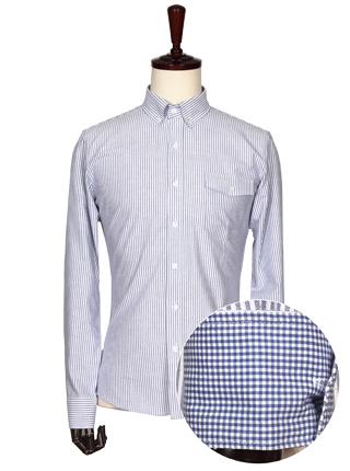 [더산의류] 남성 FS080 스트라이프 포켓 셔츠-블루