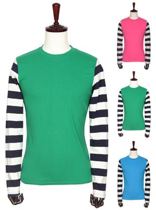 [더산의류] 남성 MTS-935 소매배색 단가라 라운드 티셔츠