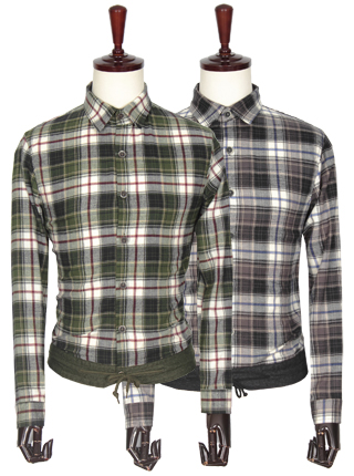 [더산의류] 남성 FS922 캐주얼 배색 시보리 빅체크 셔츠