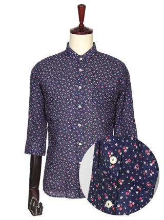 FS-099 꽃무늬 7부 셔츠 루즈핏- 네이비