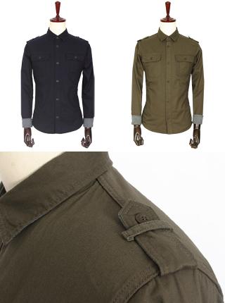 [더산의류] 남성 FS070 견장 트윈포켓 코튼 셔츠