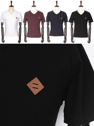 [더산의류] 남성 (기획특가) MTS-910 가슴 가죽패치 브이넥 반팔 티셔츠