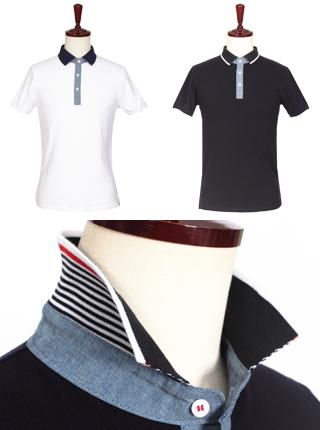 [더산의류] 남성 (기획특가) MTS-915 카라 단가라 배색 PK 반팔 티셔츠