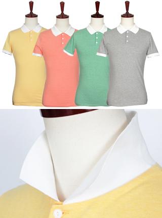 [더산의류] 남성 (기획특가) MTS-916 베이직 카라배색 반팔 티셔츠