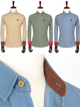 [더산의류] 남성 FS-901 피그먼트 워싱 가죽포인트 셔츠
