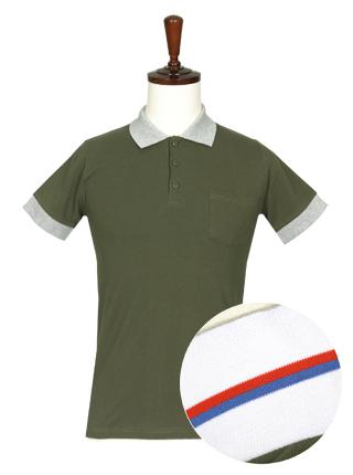 [더산의류] 남성 (기획특가) MTS-917 베이직 카라배색 반팔 티셔츠- 카키