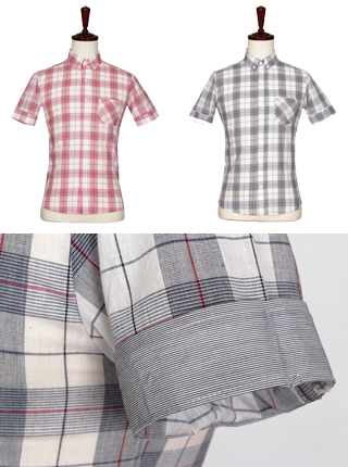 [더산의류] 남성 FS-902 40수 글렌체크 반팔 셔츠